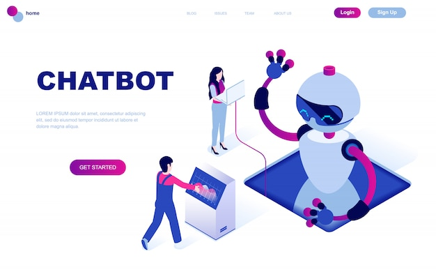 Concept Isométrique De Design Plat Moderne De Chat Bot Vecteur Premium