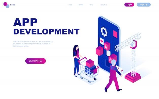 Concept isométrique de design plat moderne de développement d'applications Vecteur Premium