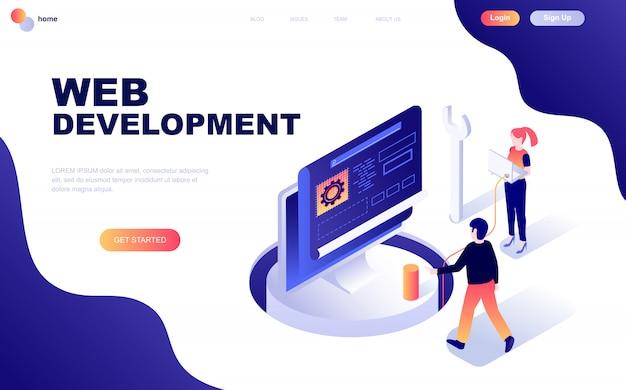 Concept Isométrique De Design Plat Moderne De Développement Web Vecteur Premium