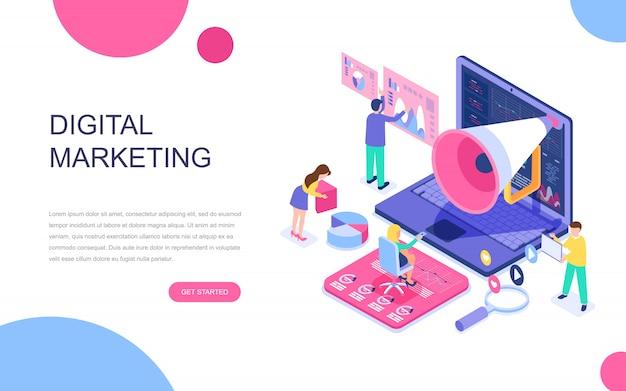 Concept isométrique de design plat moderne du marketing numérique Vecteur Premium