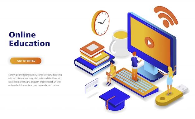 Concept isométrique de design plat moderne de l'éducation en ligne Vecteur Premium