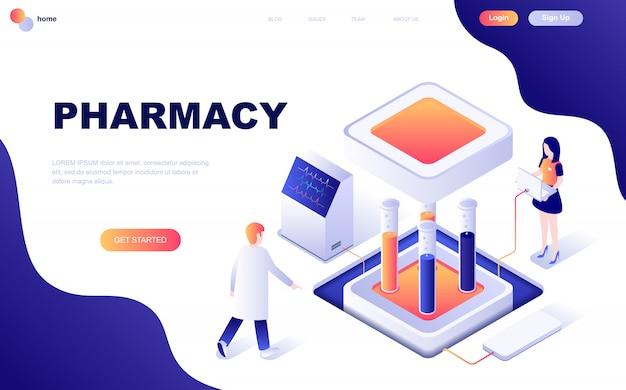Concept isométrique de design plat moderne de la pharmacie Vecteur Premium