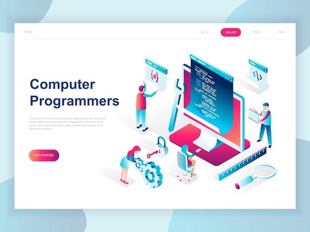 Concept isométrique design plat moderne de programmeurs informatiques Vecteur Premium
