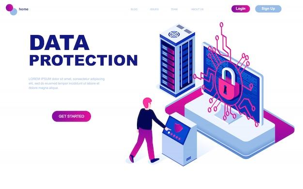 Concept isométrique de design plat moderne de la protection des données Vecteur Premium