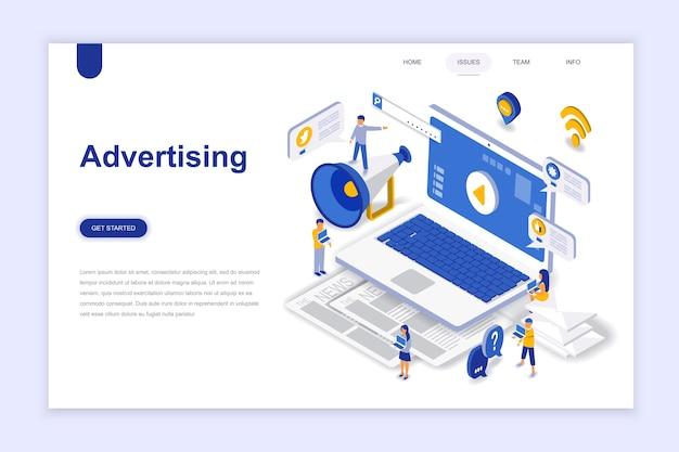 Concept isométrique de design plat moderne de publicité et de promotion. Vecteur Premium