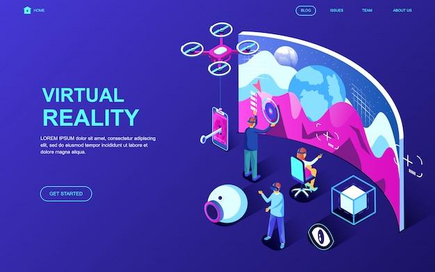 Concept isométrique de design plat moderne de la réalité virtuelle Vecteur Premium