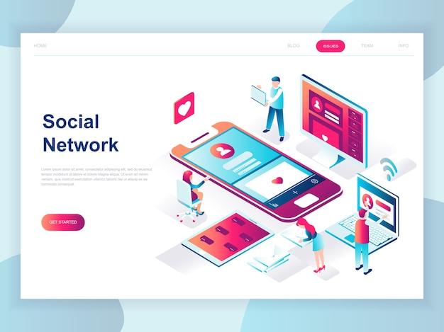 Concept isométrique design plat moderne de réseau social Vecteur Premium