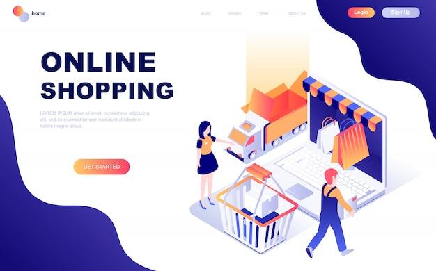 Concept isométrique de design plat moderne de shopping en ligne Vecteur Premium