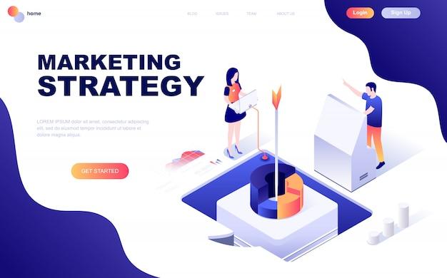 Concept isométrique de design plat moderne de la stratégie marketing Vecteur Premium