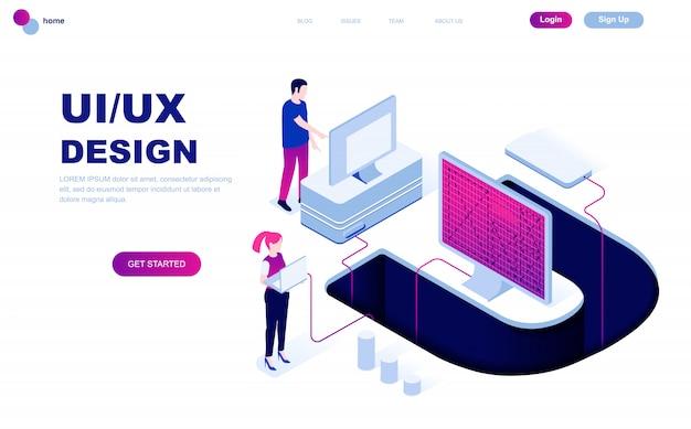 Concept isométrique de design plat moderne de ux, ui design Vecteur Premium