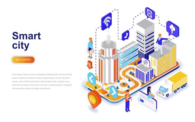 Concept Isométrique De Design Plat Moderne Ville Intelligente. Vecteur Premium