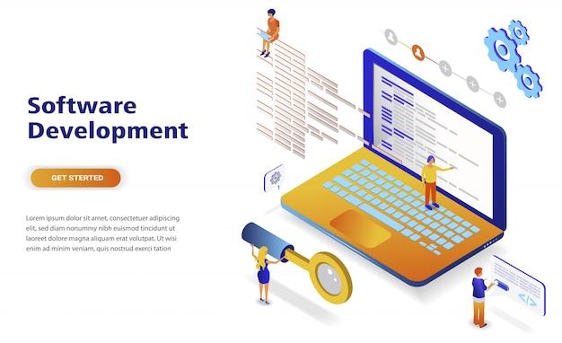 Concept isométrique de développement de logiciels design plat moderne Vecteur Premium