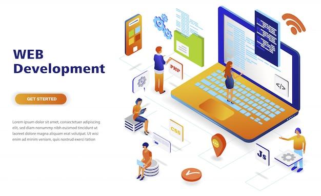 Concept isométrique de développement web moderne design plat Vecteur Premium