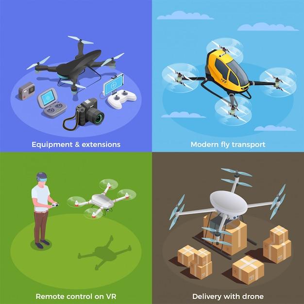 Concept Isométrique De Drones Vecteur gratuit