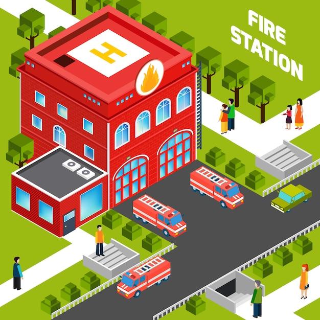 Concept isométrique du bâtiment des pompiers Vecteur gratuit