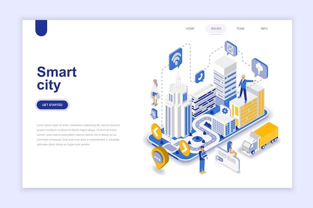 Concept Isométrique Du Design Plat Moderne Ville Intelligente. Vecteur Premium
