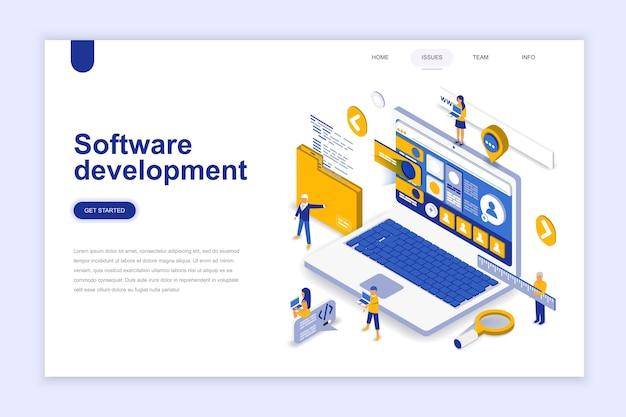 Concept isométrique du développement logiciel moderne design plat. Vecteur Premium