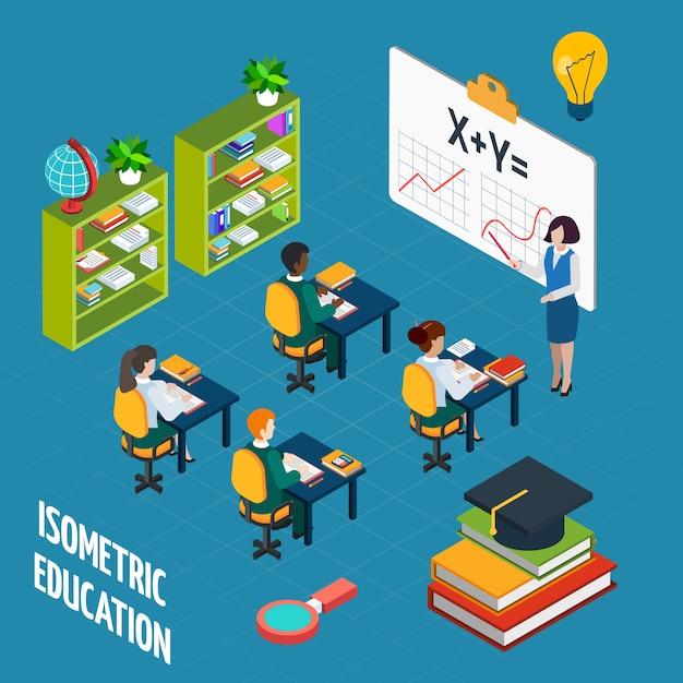 Concept isométrique d'éducation scolaire Vecteur gratuit