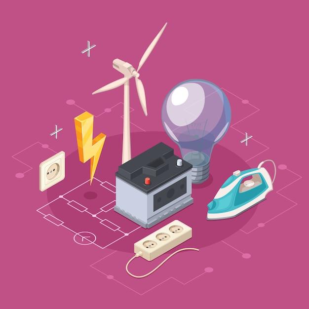 Concept Isométrique D'électricité Avec Symboles De Prise Et Appareils Ménagers Vector Illustration Vecteur gratuit