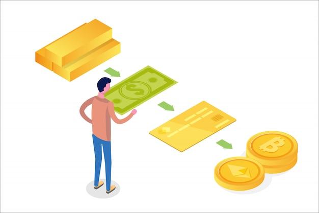 Concept Isométrique D'évolution De L'argent. Du Troc à La Crypto-monnaie. Illustration Vecteur Premium