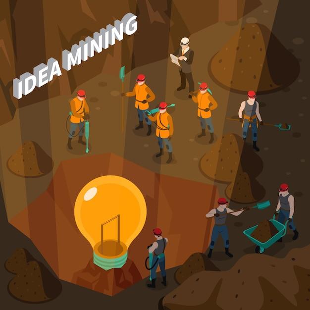 Concept isométrique d'exploitation minière Vecteur gratuit