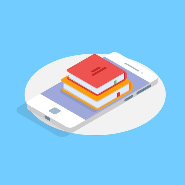 Concept Isométrique En Ligne Mobile De Bibliothèque. Illustration Vectorielle. Vecteur Premium