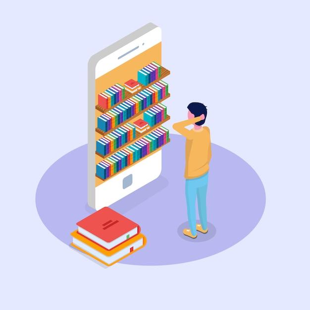 Concept Isométrique En Ligne Mobile De Bibliothèque. Micro Personnes Lisant Des Livres. Illustration Vectorielle. Vecteur Premium