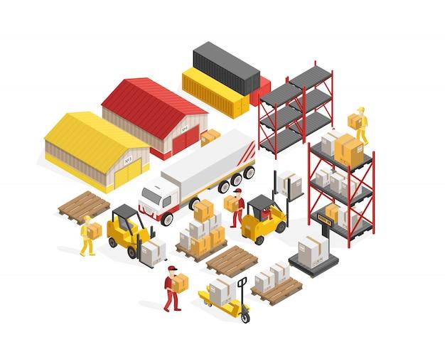 Concept isométrique de logistique d'entrepôt Vecteur gratuit