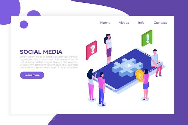 Concept Isométrique De Médias Sociaux Avec Des Personnages. Vecteur Premium