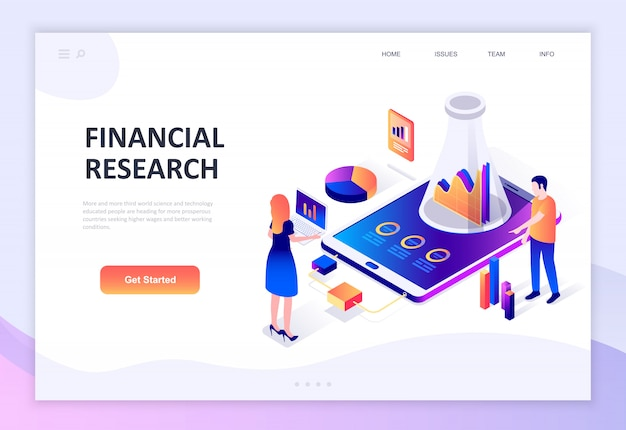 Concept isométrique moderne design plat de la recherche financière Vecteur Premium