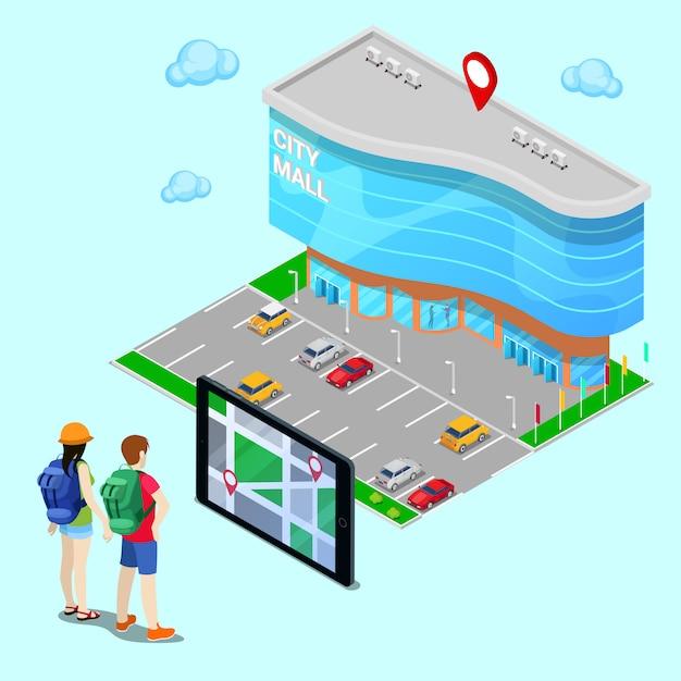 Concept isométrique de navigation mobile. touriste cherchant le centre commercial avec l'aide de la tablette. illustration vectorielle Vecteur Premium