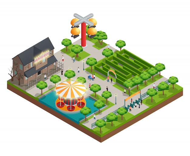 Concept isométrique de parc d'attractions avec symboles de maison hantée et labyrinthe vector illustration Vecteur gratuit