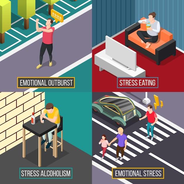 Concept isométrique de personnes stress Vecteur gratuit