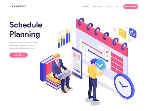 Concept isométrique de planification de planning pour la page de destination, l'interface utilisateur, le site web Vecteur Premium