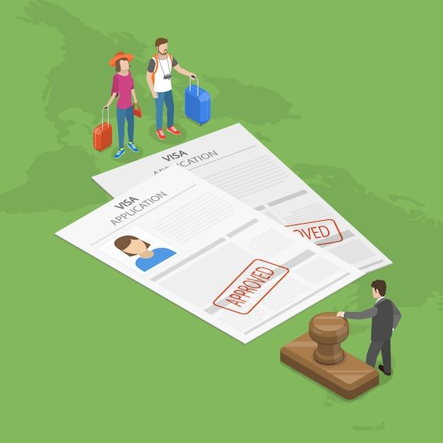 Concept Isométrique Plat De Demande De Visa. Vecteur Premium