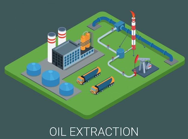 Concept Isométrique Plat Du Cycle Du Processus D'extraction De La Production Pétrolière. Vecteur gratuit