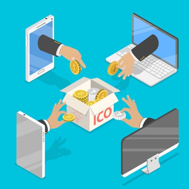 Concept Isométrique Plat De L'offre Initiale De Pièces, Jeton Ico, Financement Participatif, Blockchain, Démarrage De L'argent Numérique. Vecteur Premium