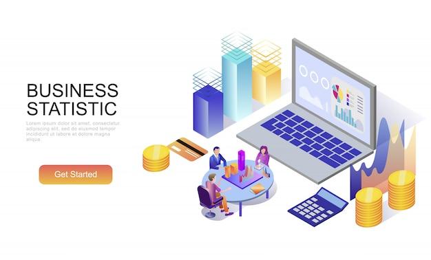 Concept isométrique plat de la statistique des entreprises Vecteur Premium