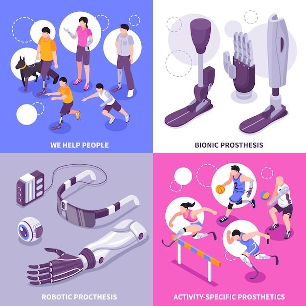Concept Isométrique De Prothèse Bionique Vecteur gratuit