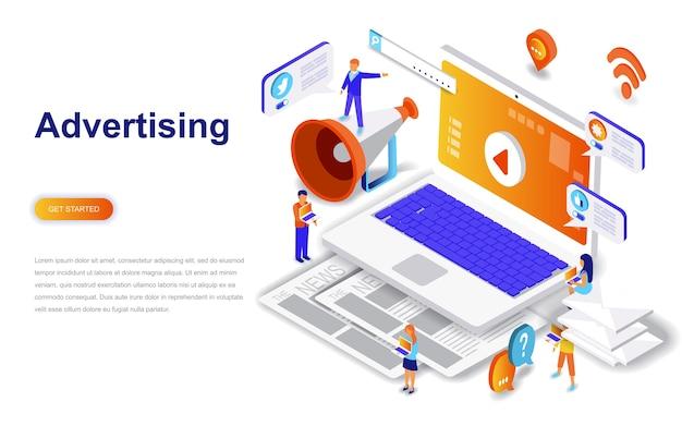 Concept isométrique de publicité et promo design plat moderne. Vecteur Premium