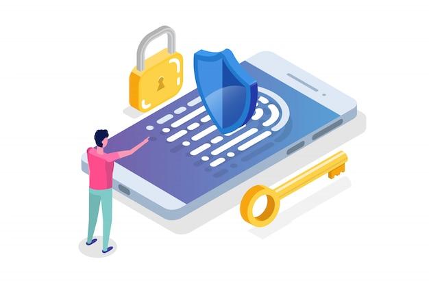 Concept Isométrique De Sécurité, De Sûreté Et De Protection Des Données Personnelles Confidentielles. Vecteur Premium