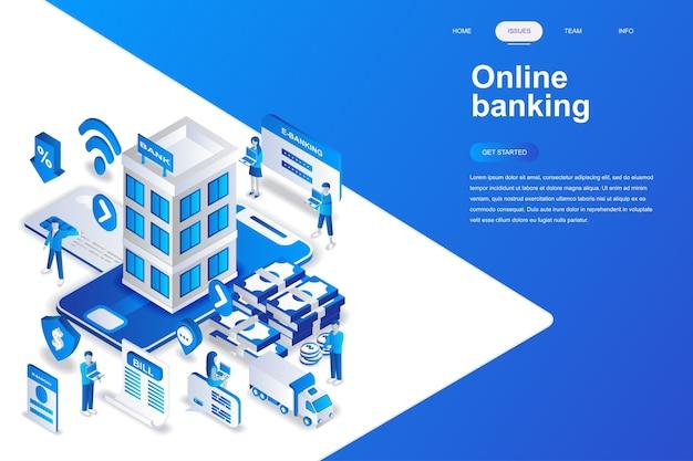 Concept isométrique de services bancaires en ligne moderne design plat. Vecteur Premium