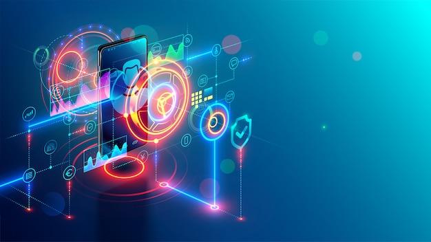 Concept isométrique de services bancaires mobiles internet. banque en ligne sur le téléphone. sécurité Vecteur Premium