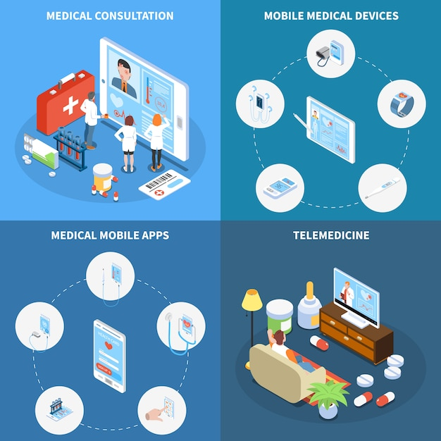 Concept Isométrique De Télémédecine Avec Consultation En Ligne D'applications Mobiles Médicales Et Appareils Isolés Vecteur gratuit