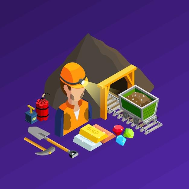 Concept isométrique des travaux miniers Vecteur gratuit