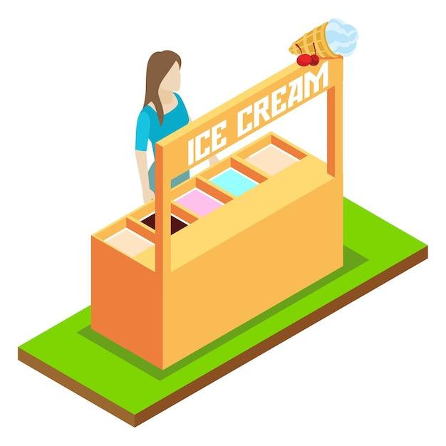 Concept isométrique de vecteur vente de crème glacée Vecteur Premium