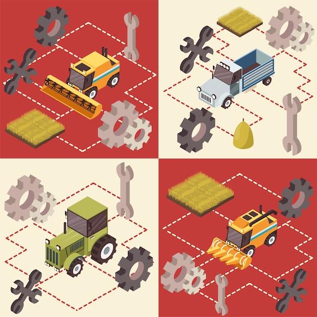 Concept isométrique de véhicules agricoles Vecteur gratuit