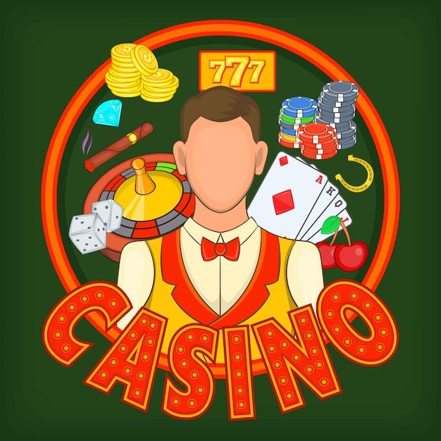 Concept de jeux de casino, style cartoon Vecteur Premium