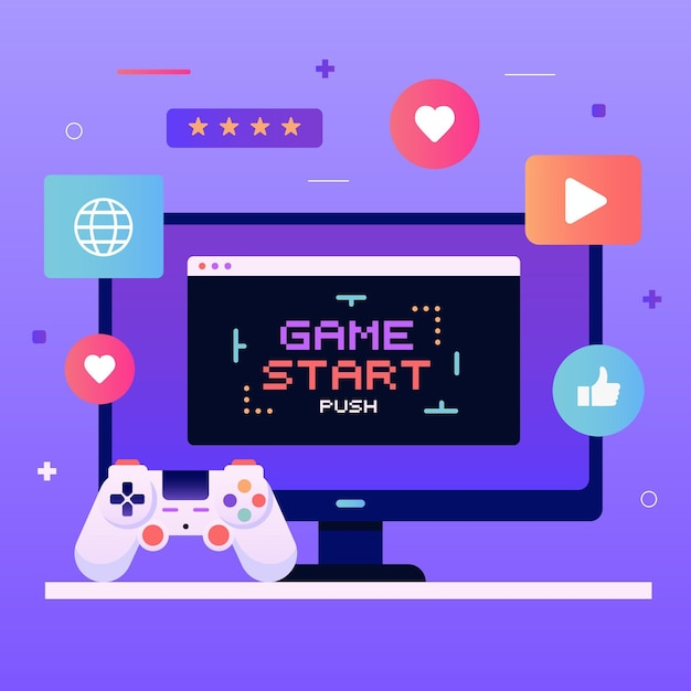 Concept De Jeux En Ligne Vecteur gratuit