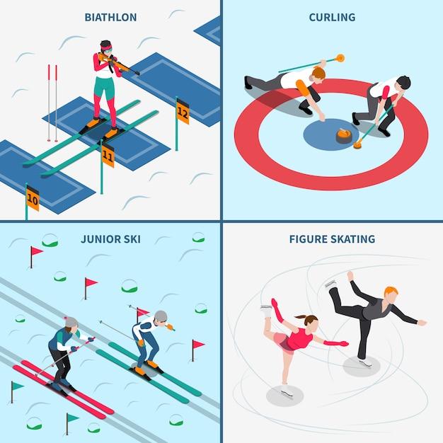 Concept des jeux olympiques d'hiver Vecteur gratuit